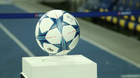 Kiev, Ukraine, 09 December 2015: Balls with symbols of the Champions League before the match commands Dynamo Kiev and Maccabi Tel Aviv in the group stage of the Champions League. Case Number: 02484149