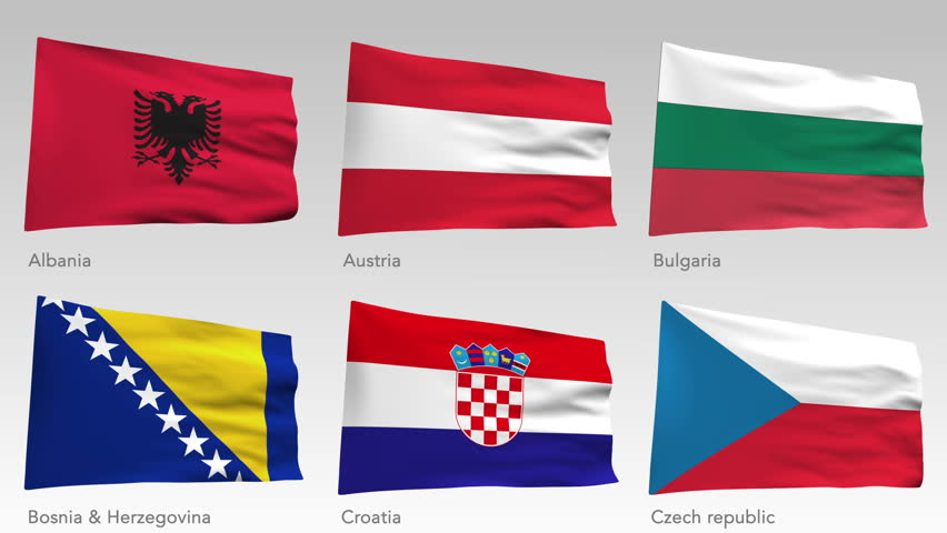 Animated flags of Central Europe collection with alpha channel, Albania, Austria, Bulgaria, Bosnia & Herzegovina, Croatia, Czech republic