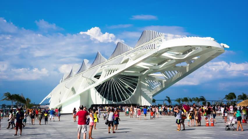 Rio de Janeiro, Brazil - December 19, 2015: Timelapse view of Museu do Amanha (Museum of Tomorrow), designed by Spanish architect Santiago Calatrava, on opening day in Rio de Janeiro, Brazil. Zoom in.