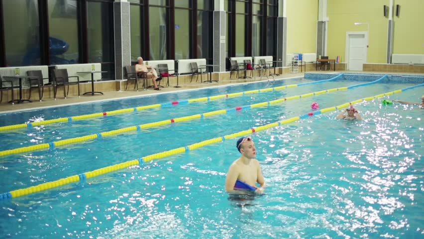 water of pure indoor pool for resting in modern hotel stock