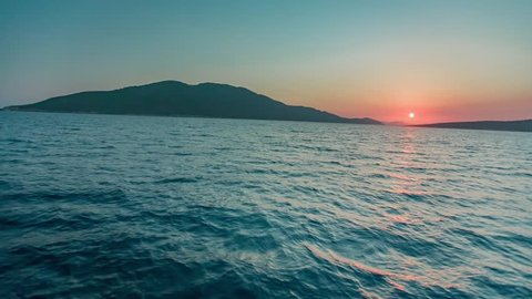 Cruise into the sunset in Mediterranean Sea close to Bodrum Turkey