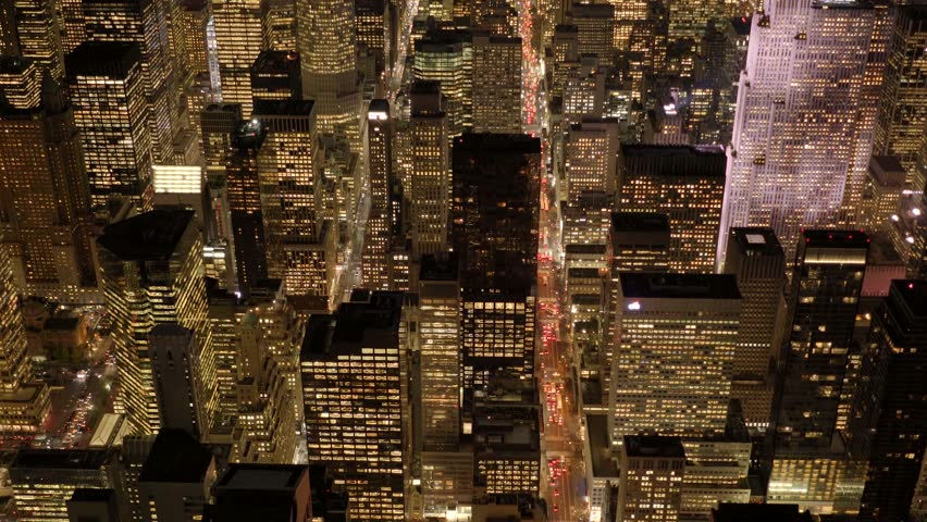 Establishment shot of big city metropolis at night. illuminated cityscape skyline background | Shutterstock HD Video #13542404