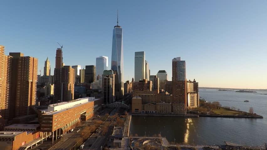 Helicopter establishment shot of new york city skyline at sunset. urban metropolis background. shot on red epic 4K   Shutterstock HD Video #13553987