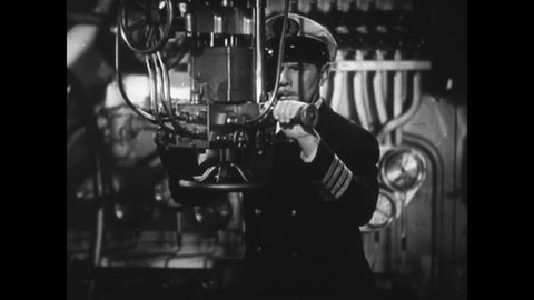 UNITED STATES 1940s: Officer looks through periscope, gives order / Torpedo launches / Torpedo moves through water / Ship explodes / Officer looks through periscope.