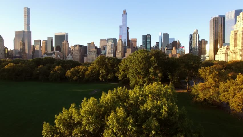 Aerial establishment shot of new york city skyline and central park at sunset light. business buildings district