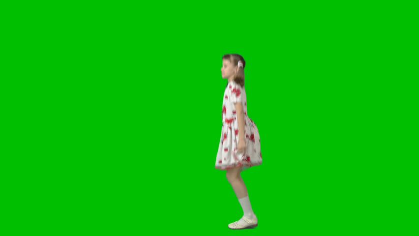Playing, jumping little girl in white with red dress enjoys game. Footage with alpha channel File format - mov. Codec - PNG+Alpha Combine these footage with other people