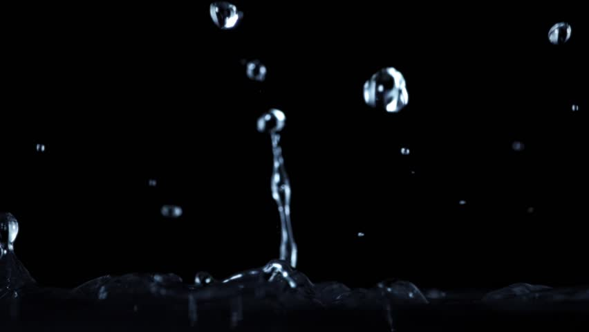 High speed camera shot of an water element, isolated on a black background. Can be pre-matted for your video footage by using the command Frame Blending - Multiply.