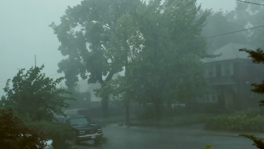 Scary suburban storm. Very strong summer storm with close to hurricane force winds. Thunder and lightning. East York, Ontario, Canada.  | Shutterstock HD Video #1361950