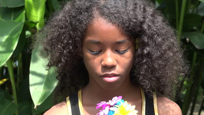 Sad Teen African Girl Stock Footage Video 13633901  Shutterstock-9054