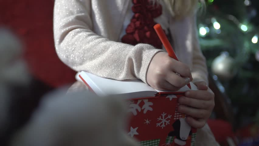 writing a letter to santa clause stock footage video 18666980