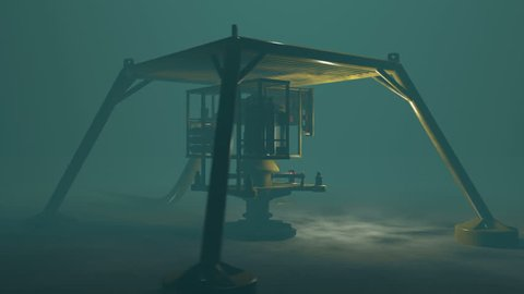 Underwater oil and gas equipment protected by a steel cage structure. Fictitious protection structure, oil and gas equipment. Murky water to emphasize depth and blurred image for dramatic effect.
