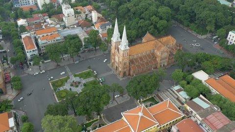 Saigon Notre-Dame Basilica aerial video (Vietnamese: Vuong cung thanh duong Duc Ba Sai Gon or Nha Tho Duc Ba Sai Gon)
