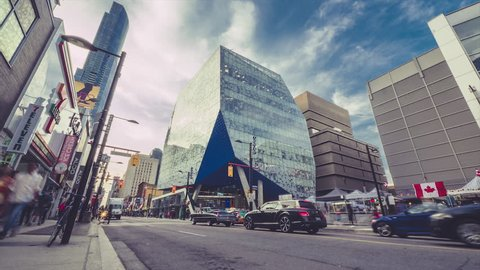 TORONTO, CANADA - CIRCA AUGUST 2015: Timelapse of downtown Toronto's Ryerson University's Student Centre located on busy tourist filled Yonge street.