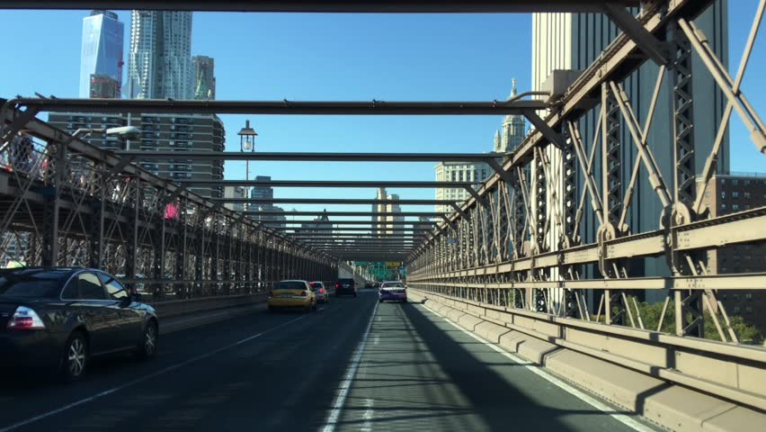 New York City - United States, October 2015: Brooklyn Bridge by car | Shutterstock HD Video #13705526