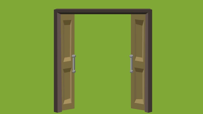 Open Double Door Closed Wooden Door Closed Green Background Video Animation Cartoon No People Stock Footage Video 13726526 | Shutterstock & Open Double Door Closed Wooden Door Closed Green Background Video ...