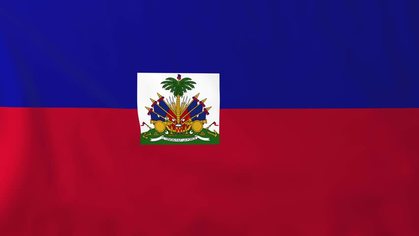 Flag Of Haiti Slow Motion Waving Rendered Using Official Design And Colors