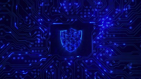 Network security. Shield with circuit board. Firewall. Technology. Loopable. Zoom. Computer security. Blue.