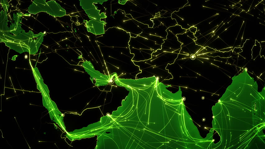 World connections. Middle East. Animation of the Earth with bright connections and cities. Green. Locked. Aerial, maritime, ground routes and country borders. | Shutterstock HD Video #13806956