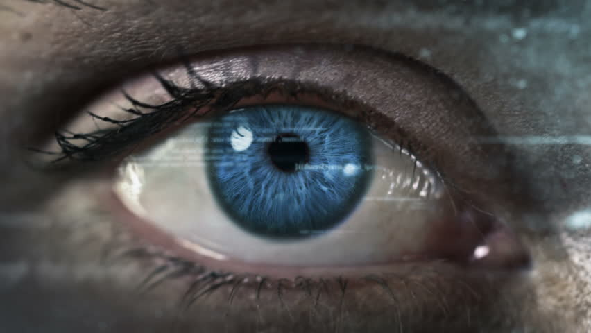 Female eye with program code. Futuristic. Technology. Blue. Eye close-up with computer data appearing. 2 colors in 1 file.