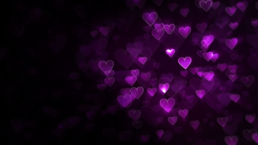 Purple And Black Hearts Wallpaper: Heart Background. Purple. Loopable. 2 Stock Footage Video