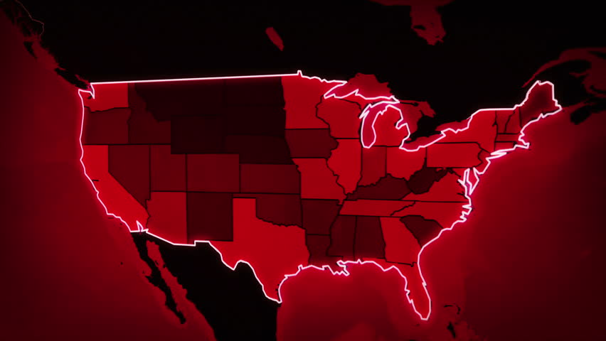Red Snowy Looped Background Map Of The USA Pack Winter Animated - Hd us map background