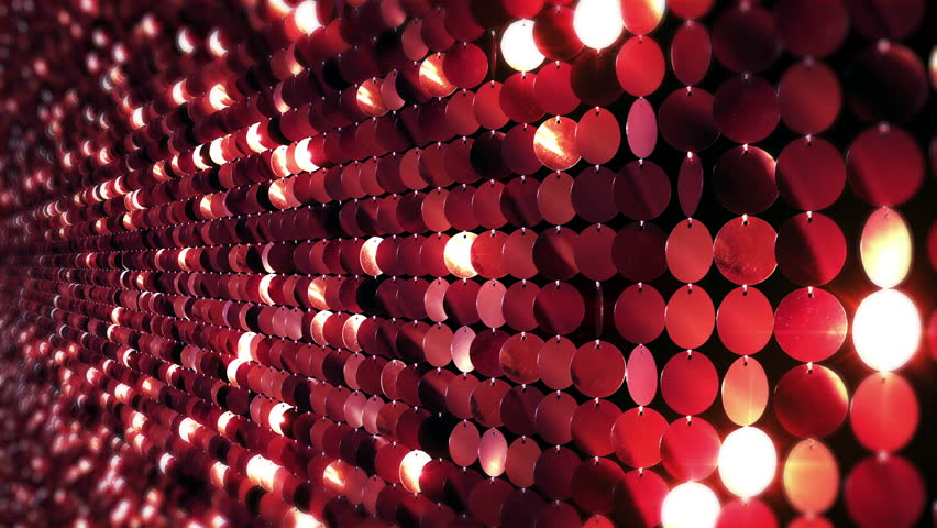 Sequins reflective background. Red. 3 videos in 1 file. Loopable.