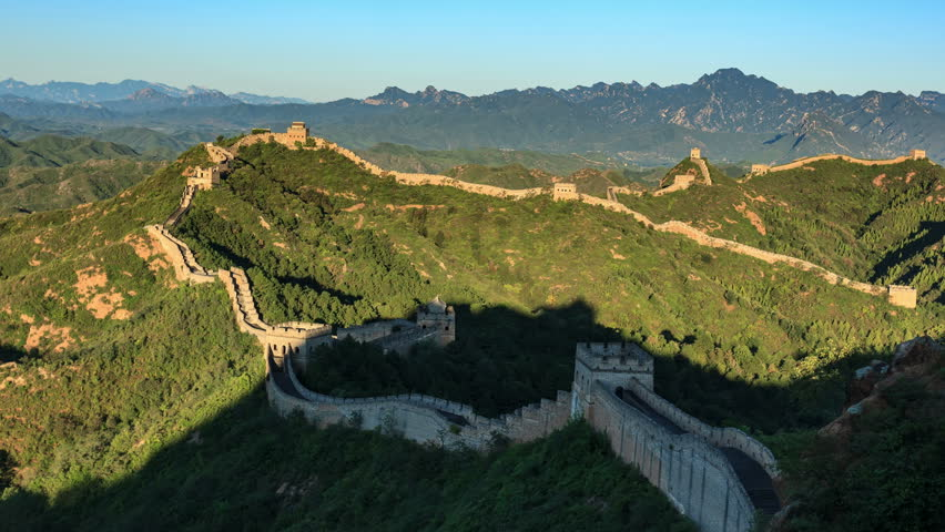 "Sunrise of Great Wall of China (Panning Shot, 4k Time-Lapse Video). Aerial view of Jinshanling Great Wall near Beijing, China.  - >>> Please search similar: "" ChinaGreatWall "" . 