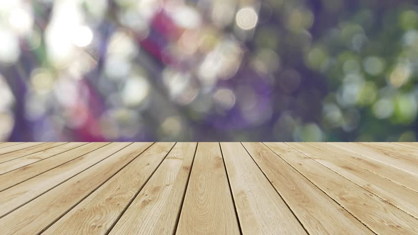 Stock Video Clip of Perspective wood and bokeh light background