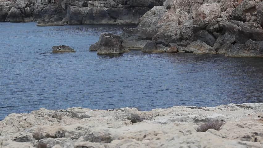 Rocks In Spanish Part - 37: Bay In The North Of Ibiza. Portinatx. Spain. Rocks. - HD Stock