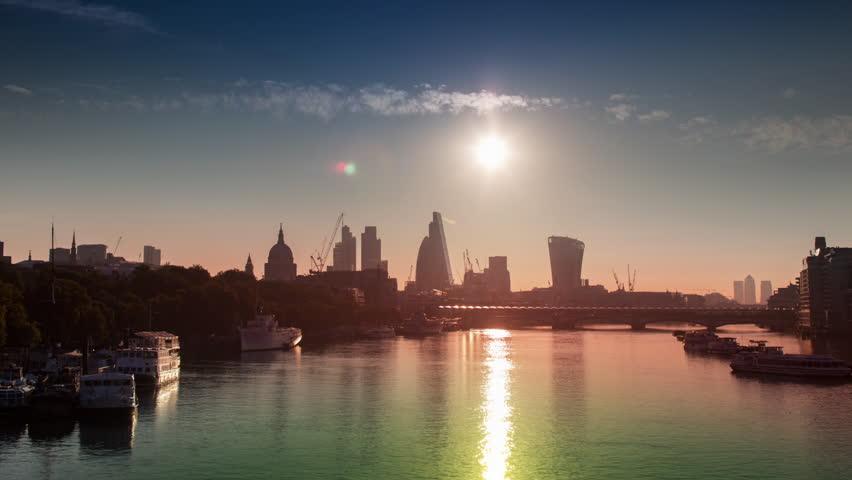 Timelapse view of amazing london skyline from waterloo bridge just after sunrise | Shutterstock HD Video #13872806