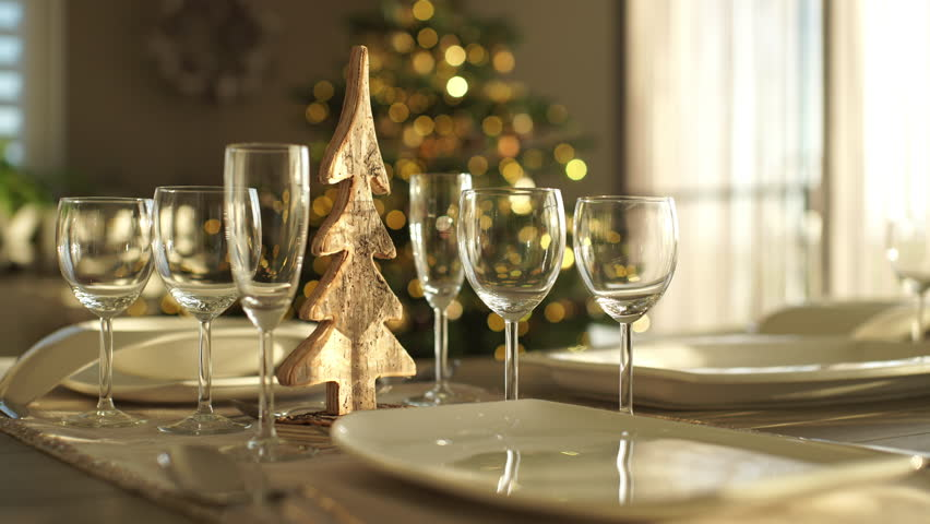 Dinner Table Background 4k footage, dolly move closeup festive decorated dining table at