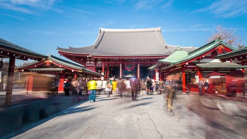 TOKYO - FEBRUARY 10: (Zoom in Timelapse view) Low angle view of Senso-ji Temple in Asakusa on February 10, 2012 in Toyko, Japan. Sensoji temple is one of the most famous landmarks in Tokyo.