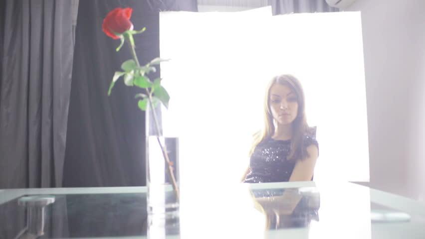 sad girl with a rose