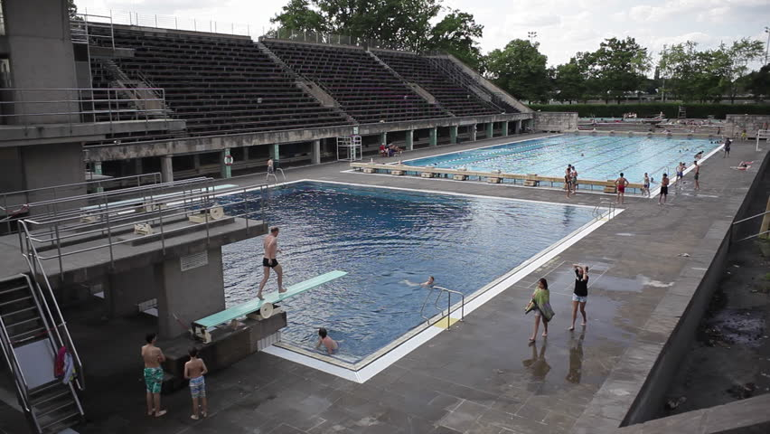 germany circa july 2015 olympic stadium pool bleachers berlin