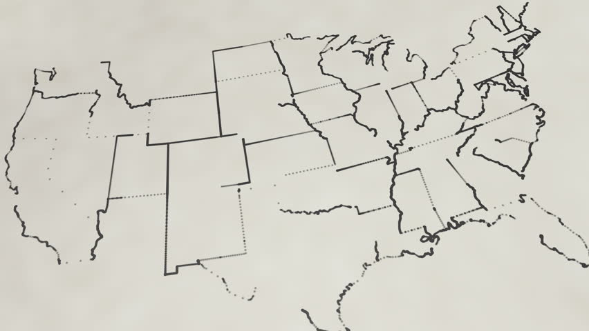 United States Map Stock Footage Video Shutterstock - Us map sketch