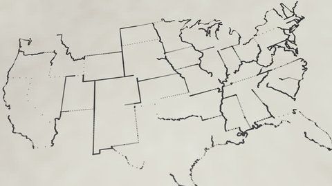 Pencil sketch of the United States map (Animation)