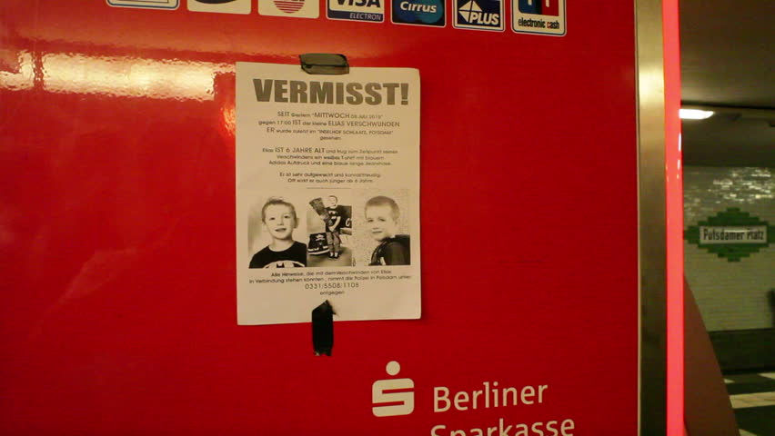 GERMANY - CIRCA JULY 2015 - Missing child poster in Berlin, Germany
