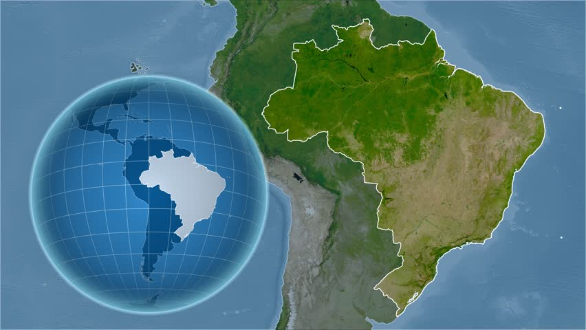 Brazil shape animated on the physical map of the globe stock footage brazil shape animated on the satellite map of the globe 4k stock video clip gumiabroncs Images