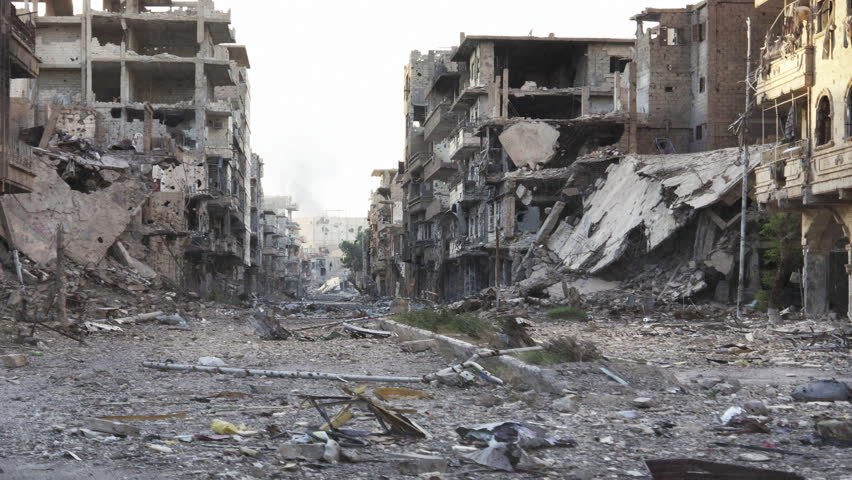 Syria Pan Dolly shot aftermath destroyed city - 4K | Shutterstock HD Video #13986386