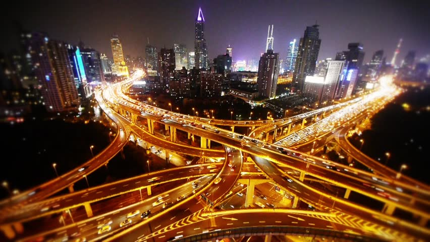 time lapse,Aerial View of freeway busy city rush hour heavy traffic jam highway,shanghai Yan'an East Road Overpass,driving racing by with streaking lights trail & super long exposures. gh2_07478