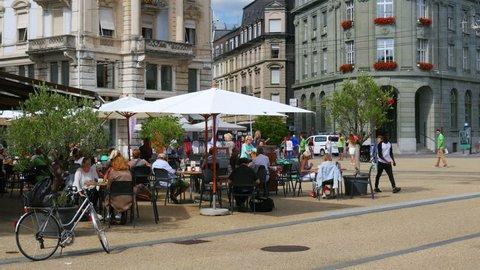 BIEL/BIENNE - SWITZERLAND, AUGUST 2015: streets daily life