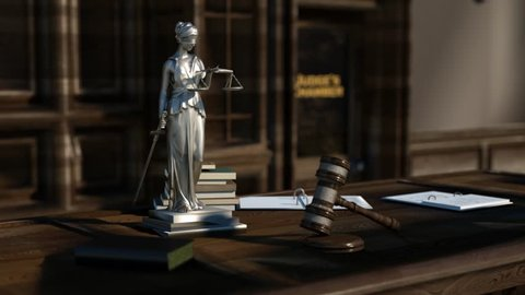 the judge's table with the book of the law, a judge's hammer, and the statue of justice with scales in her hands 3D render