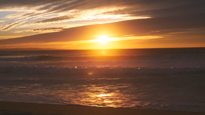 Sunset And Ocean Waves On Stock Footage Video 100 Royalty Free 14033306 Shutterstock