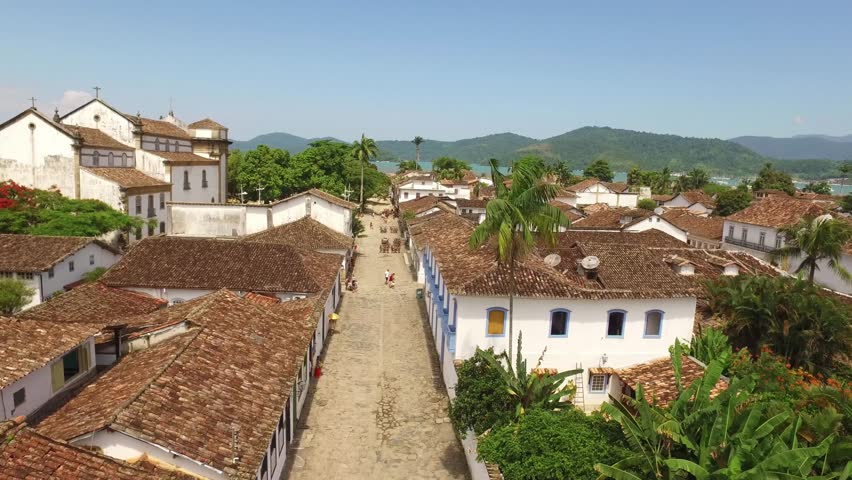Paraty's street on a drone aerial view. Brazilian famous colonial city on Rio de Janeiro coast with a typical church.
