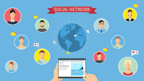 "Social network concept animation. Hands holding a tablet and choosing social network pages.  Around Earth flying email messages, ""Likes"" and speeches. People communicate."