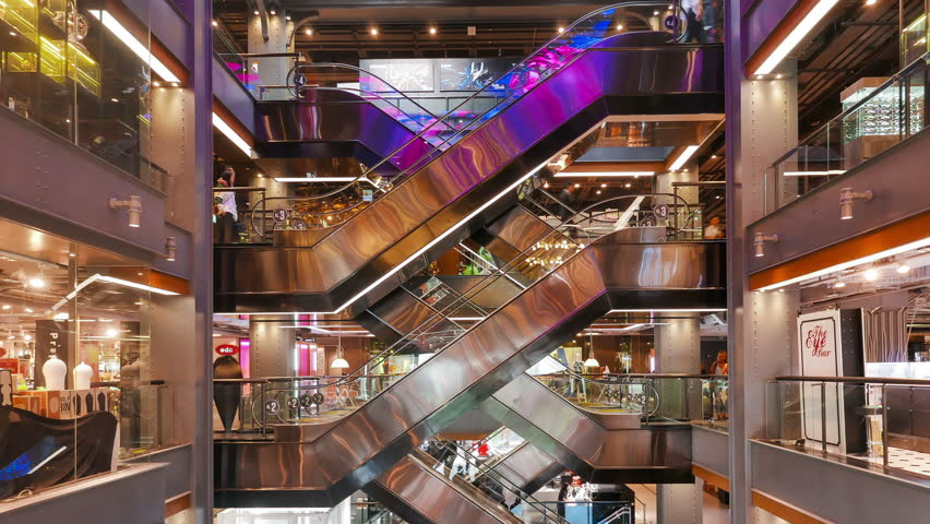 BANGKOK / THAILAND - JAN 27 2016 : Time-Lapse of People using the escalators in Siam Center Shopping Mall Bangkok. | Shutterstock HD Video #14132996