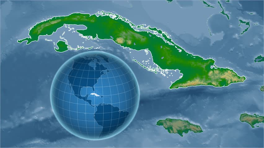 Cuba Shape Animated On The Physical Map Of The Globe Stock Footage
