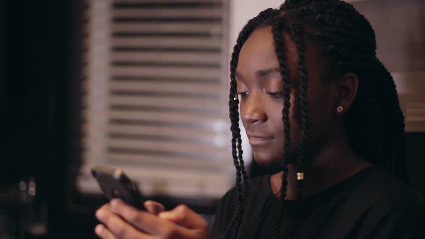 Think, Black girl on phone agree