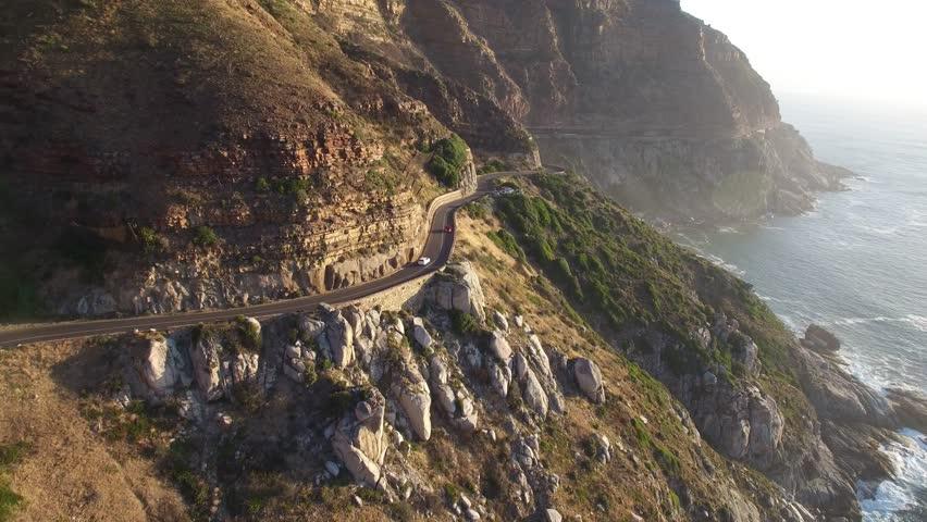 Cape Town Following Chapman's Peak Drive Road - 4K Drone Footage | Shutterstock HD Video #14158217