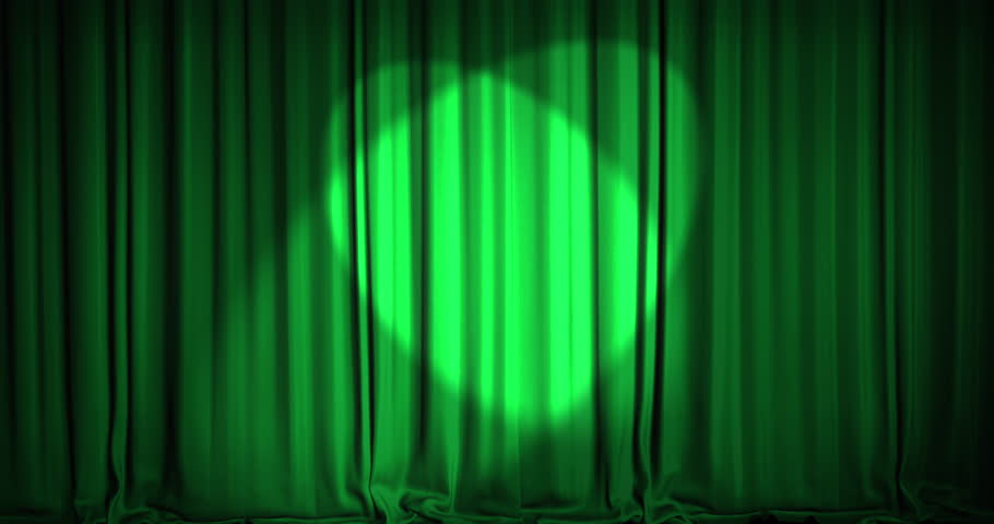 A Green Velvet Curtain Opening With Spotlights In A Movie Theater. An Alpha  Matte Is Included As Well. High Quality Render In 4K Format.